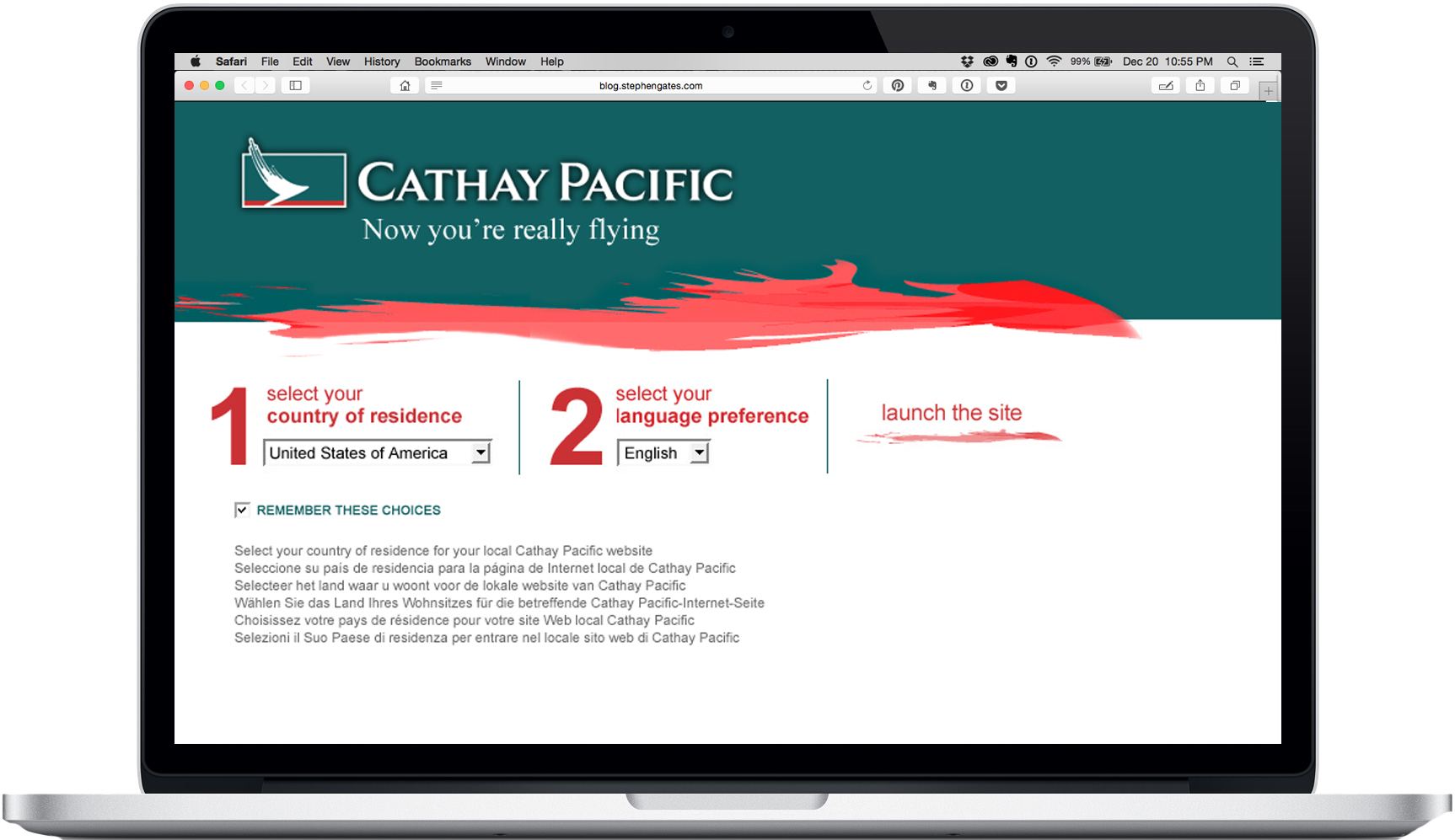 Cathay Pacific Site Re-Design | Stephen Gates – Global Creative ...